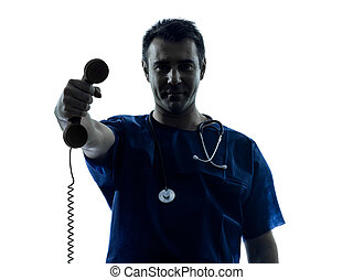 doctor man silhouette holding phone