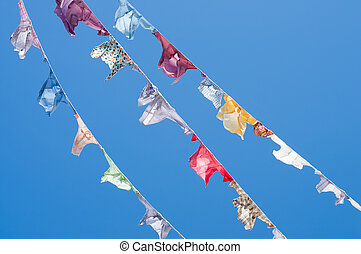 A group of colored shirts on a clothesline in front of blue...