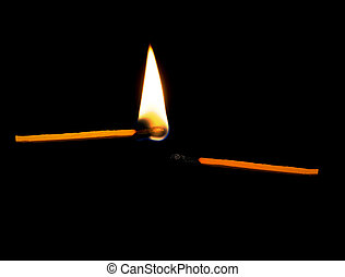 Passion concept - match with flame and without - Death of...