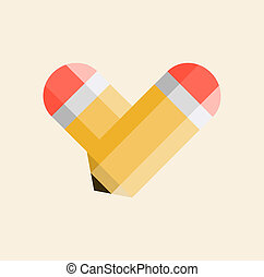 Two yellow pencils forming a shape of a heart