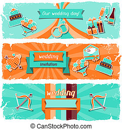 Wedding invitation horizontal banners in retro style.