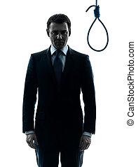 judge man in front of  hangman noose silhouette