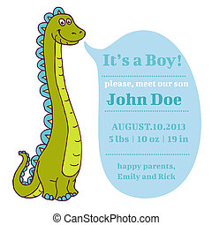 Baby Shower and Arrival Card - Dino Theme - with place for your text - in vector