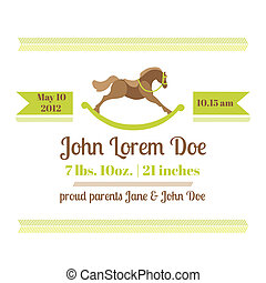 Baby Shower and Arrival Card - Horse Theme - with place for your text - in vector