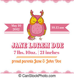 Baby Shower or Arrival Cards - Owl Theme - with place for...