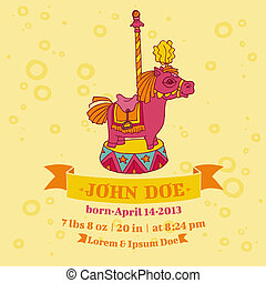 Baby Shower or Arrival Cards - Horse Theme - with place for your text - in vector