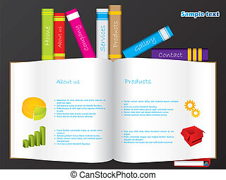 Books web template with vivid colors and open book