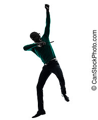 african black man jumping happy silhouette