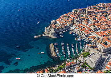 Dubrovnik old town - Aerial helicopter shoot of Dubrovnik...