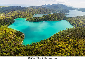 Mljet - Aerial helicopter shoot of National park on island...