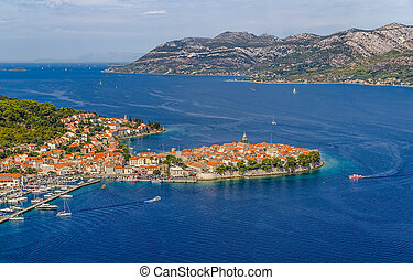 Korcula - Aerial helicopter shoot of Korcula old town...