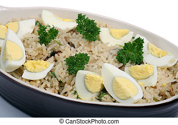 Kedgeree rice with eggs and parsley horizontal - Kedgeree,...