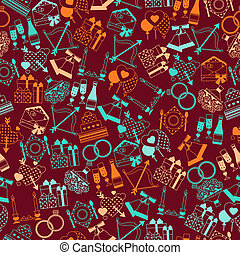 Seamless wedding pattern in retro style