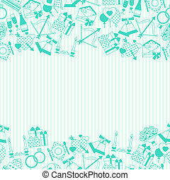Seamless wedding pattern in retro style.