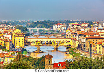 Bridges over Arno river in Florence, Italy