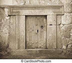 massive stone door - a massive stone door at Beit Shearim,...
