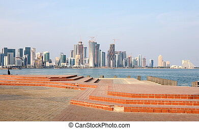 Doha skyline - A view across Doha Bay, Qatar, towards the...