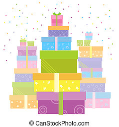 Gift boxesVector presents isolated on white - Gift boxes for...