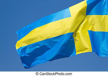 Sweden flag on the blue sky