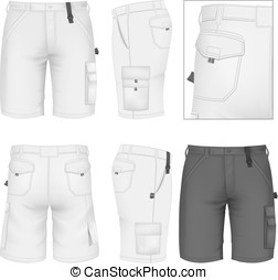 Men's Bermuda shorts design templates (front, back and side...