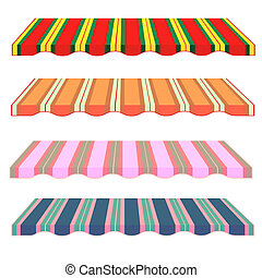 detailed illustration of set of striped awnings. Vector....