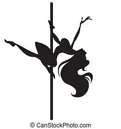 Illustration of silhouette of a dancing girl on a pole....