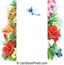 Banner from tropical flowers and leaves