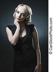 retro stylized photo of a beautiful young woman