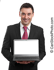 businessman presenting something on a laptop