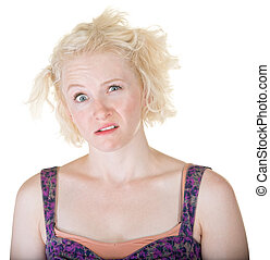 Crazy Blond Lady - Confused blond young adult on isolated...