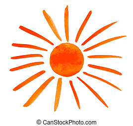 Sun painted isolated on white background