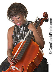 Laughing Cello Performer - Laughing Black female classical...