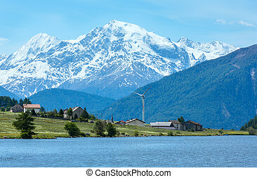 Summer Reschensee alpine view Italy - Summer Reschensee view...