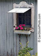 Weathered cottage Window with Flower Box - An old cottage...