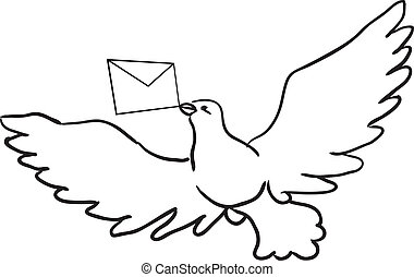 Dove with a letter - Flying dove with a letter Vector...