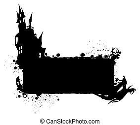 Halloween grunge silhouette background/Halloween grungy...