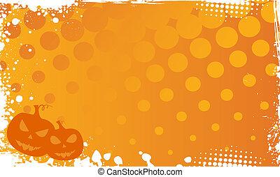Grunge halloween background with pumpkins