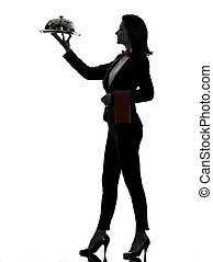 woman waiter butler serving dinner silhouette - one...