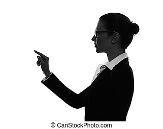 business woman touching copy sapce silhouette - one...