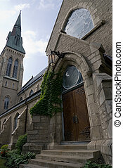 Menacing Church Doors - A set of large closed church doors,...