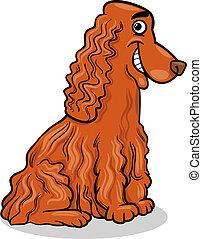 cocker, Spaniel, hund, karikatur, abbildung