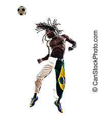 brazilian  black man soccer player heading football silhouette