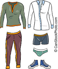 men clothes objects cartoon set - Cartoon Illustration of...
