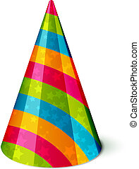 Party hat - Vector Party hat with stripes and stars on white