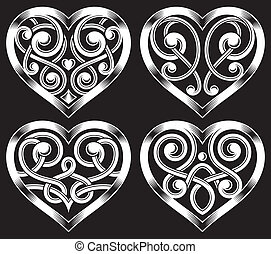Set of Ornate Heart Shape - fully editable vector...