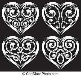 Set of Ornate Heart Shape - fully editable vector...