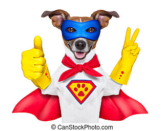 super hero dog with  red cape and a  blue mask und thumb up