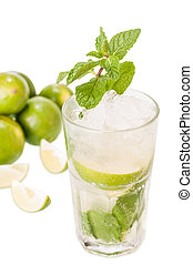 Mojito cocktail with limes on white background - Mojito a...