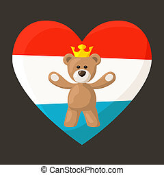 Luxembourg Royal Teddy Bear - Teddy Bear with crown and...