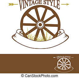 Vintage Rural Design With Old Wheel (Used Times New Roman...
